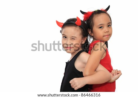 scary cute little asian girl best friend in black and red halloween costume