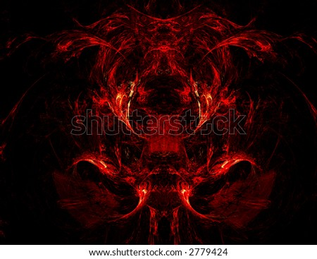 Scary face - fractal generated on a black background - stock photo