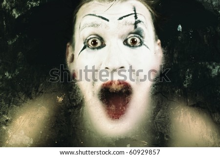 Scary face screaming mime for murky glass - stock photo