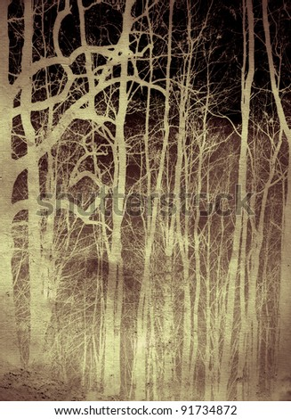 scary forest illustration background - stock photo