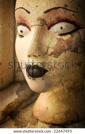 Scary goth grunge mannequin head. Cracked texture background illustration. - stock photo