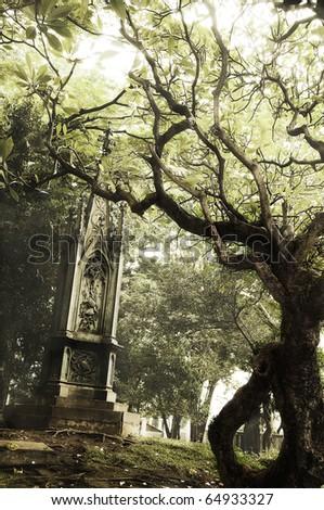 Scary graveyard - stock photo