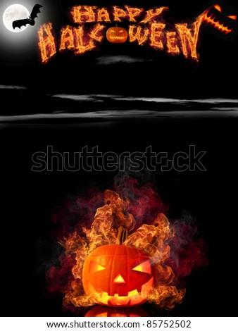 Scary halloween background - stock photo