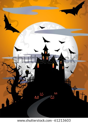 Scary halloween background with moon and old tree - stock photo