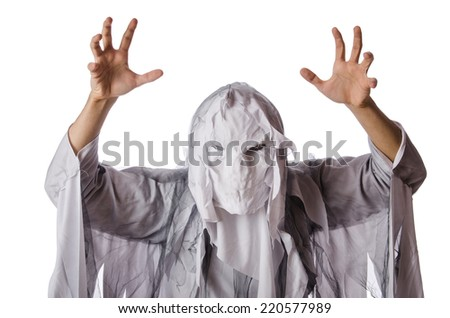 Scary halloween concept with monster on white - stock photo