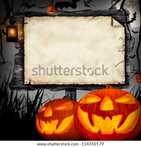 Scary halloween concept with wooden blank board - stock photo
