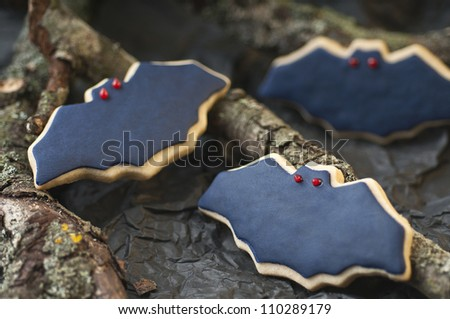 Scary Halloween cookies for party - stock photo