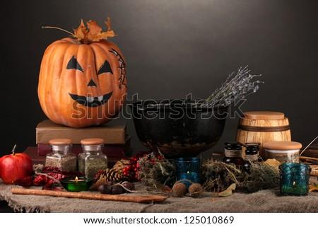 Scary halloween laboratory - stock photo