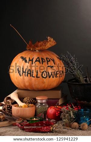 Scary halloween laboratory, close-up - stock photo