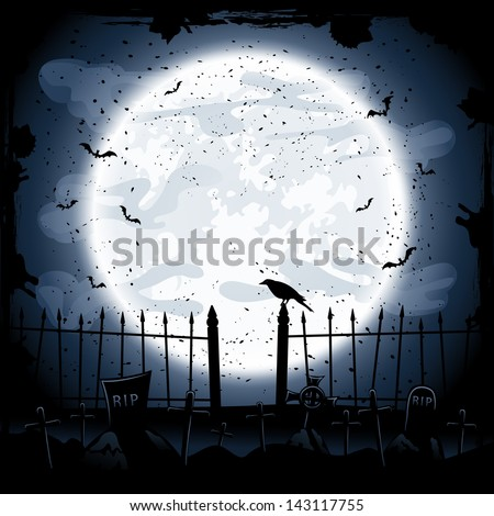 Scary Halloween night background, crow in the cemetery, illustration.