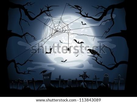 Scary Halloween night background, illustration - stock photo