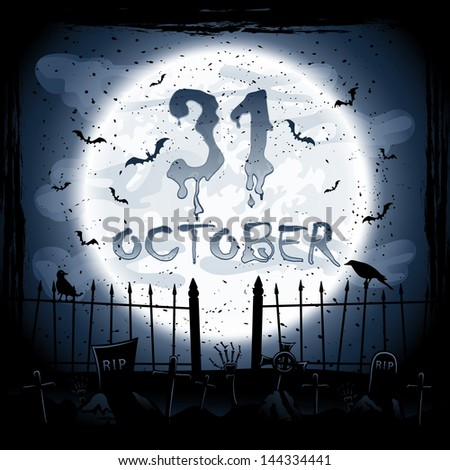 Scary Halloween night scene, crows in the cemetery, illustration. - stock photo