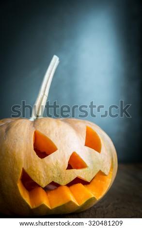 Scary halloween pumpkin - stock photo