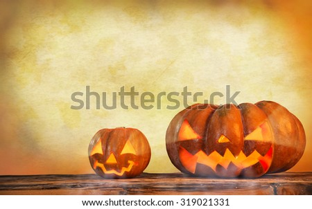 Scary halloween pumpkin background - stock photo