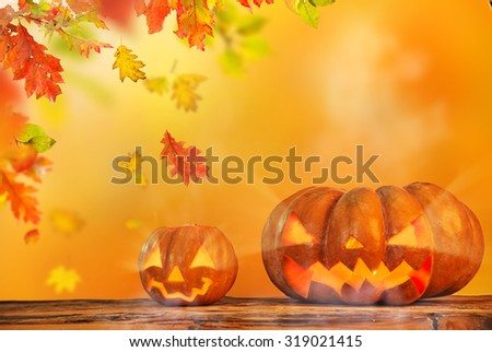 Scary halloween pumpkin background - stock photo
