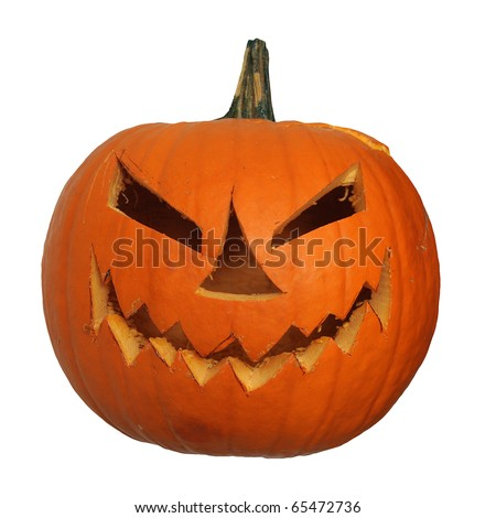 Scary halloween pumpkin jack-o-lantern unlit, isolated on white background - stock photo