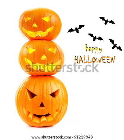 Scary Halloween pumpkins & bats  isolated on white - stock photo