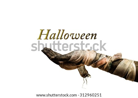 scary hand on white and clipping path - stock photo