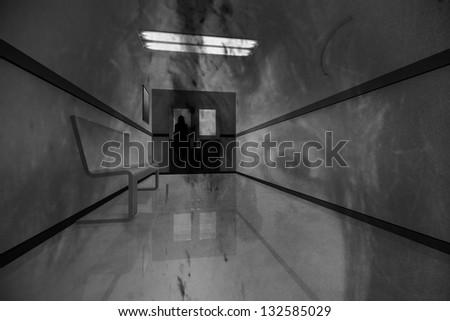 Scary Hospital Corridor Yurei Ghost Appear - stock photo