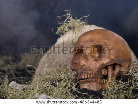 Scary human skull on a smoky halloween background
