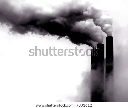 Scary Image of Power Plant emissions in America - stock photo