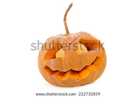 Scary Jack O Lantern halloween pumpkin  - stock photo
