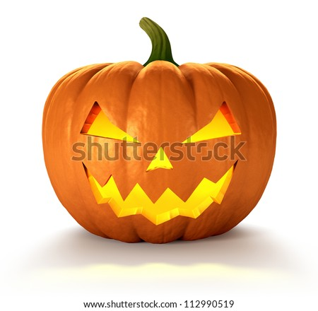 Scary Jack O Lantern halloween pumpkin with candle light inside, 3d render - stock photo