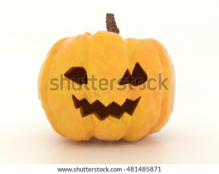 Scary Jack O Lantern halloween pumpkin without light inside isolated on white background. Old ugly vegetable for the eve of All Saints' Day. 3d illustration