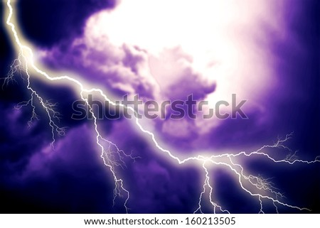 Scary lightning over natural background - stock photo