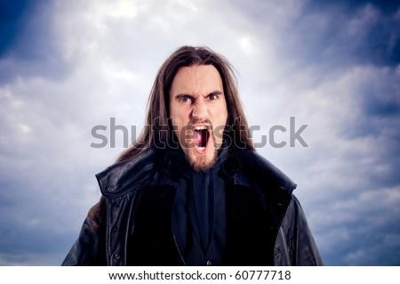 Scary man yelling - stock photo