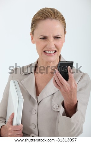 Scary message on phone - stock photo