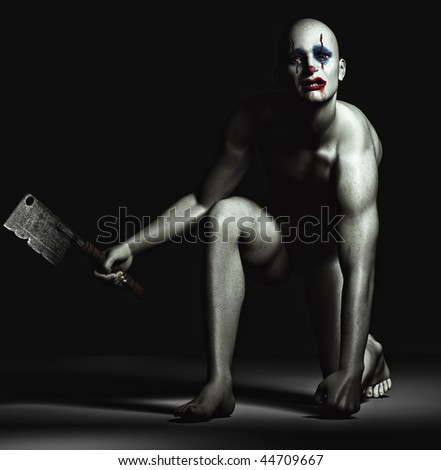 scary monster / clown in a black background.