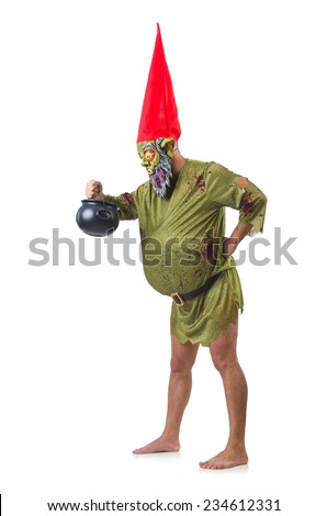 Scary monster with pot of meals isolated on white - stock photo