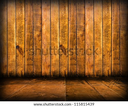 scary mosaic room with wooden wall(Grunge Room) background - stock photo