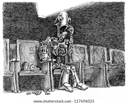 Scary movie. Funny robot is watching a scary movie at the cinema. Ink illustration. - stock photo
