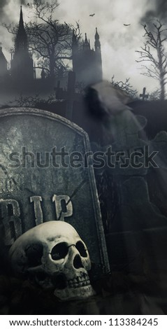 Scary night scene in graveyard with skull and graves - stock photo