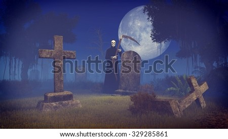 Scary night scene with Grim Reaper at the old abandoned graveyard under big full moon. Realistic 3D illustration was done from my own 3D rendering file. - stock photo