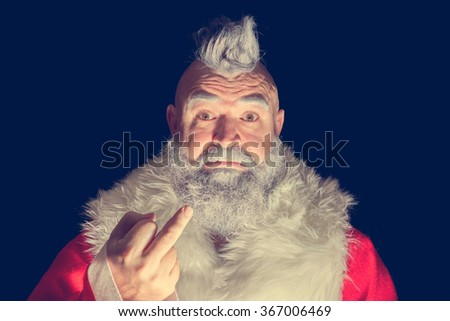 Scary Santa Claus with a mohawk