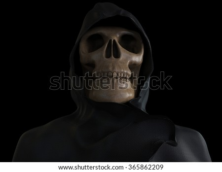 Scary skeleton wearing a hooded coat - stock photo