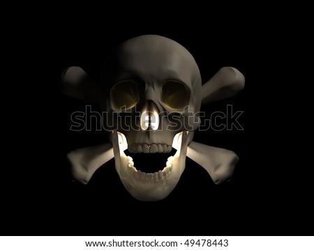 scary skull - stock photo