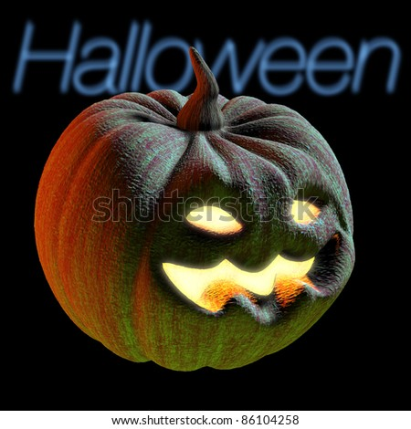 scary smiling pumpkin for halloween - stock photo