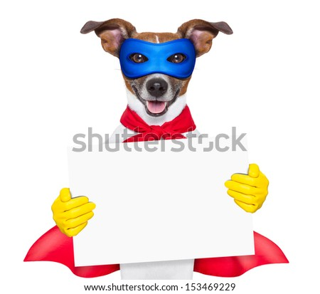 scary super hero dog with  hiding behind a blank banner - stock photo