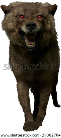 scary werewolf dog with red eyes isolated on white - stock photo