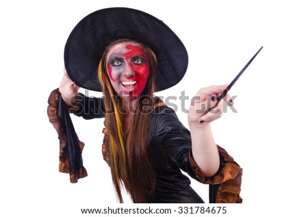 Scary witch in halloween concept - stock photo