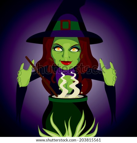 Scary witch making sorcery spells and potions with her magic cauldron - stock photo