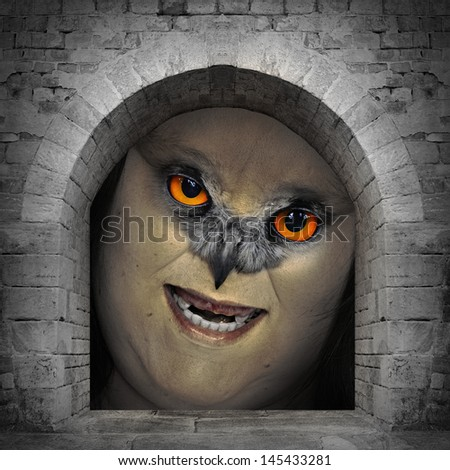 Scary zombie looking from the vault window. Halloween theme. - stock photo
