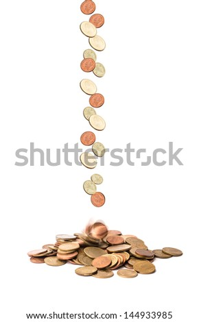 scatter coin on isolate white background - stock photo