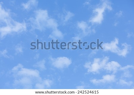 scatter little white cloud with blue sky - stock photo