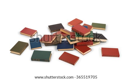 scattered books on the floor isolated on white background - stock photo