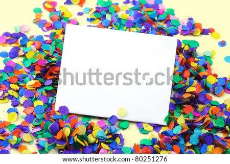 Scattered confetti, background with copy space. - stock photo